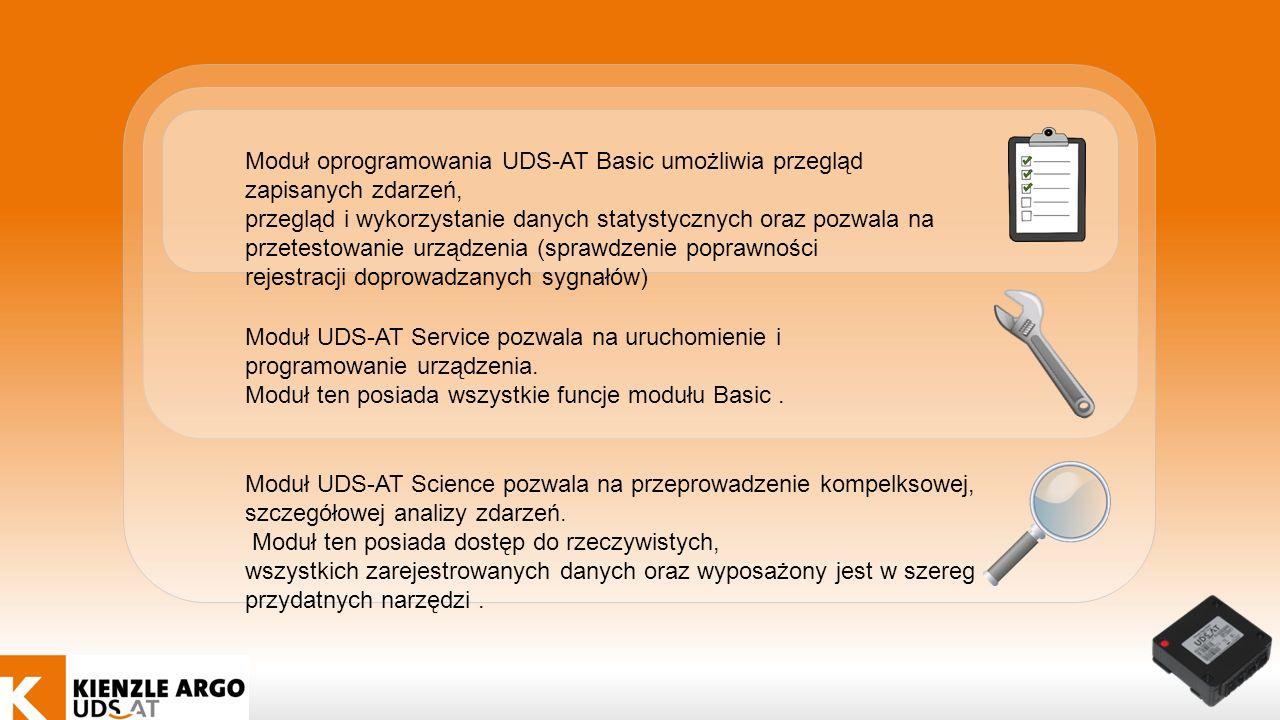 Moduł oprogramowania UDS-AT Basic umożliwia przegląd zapisanych zdarzeń, przegląd i wykorzystanie danych statystycznych oraz pozwala na przetestowanie urządzenia (sprawdzenie poprawności rejestracji doprowadzanych sygnałów) Moduł UDS-AT Science pozwala na przeprowadzenie kompelksowej, szczegółowej analizy zdarzeń.