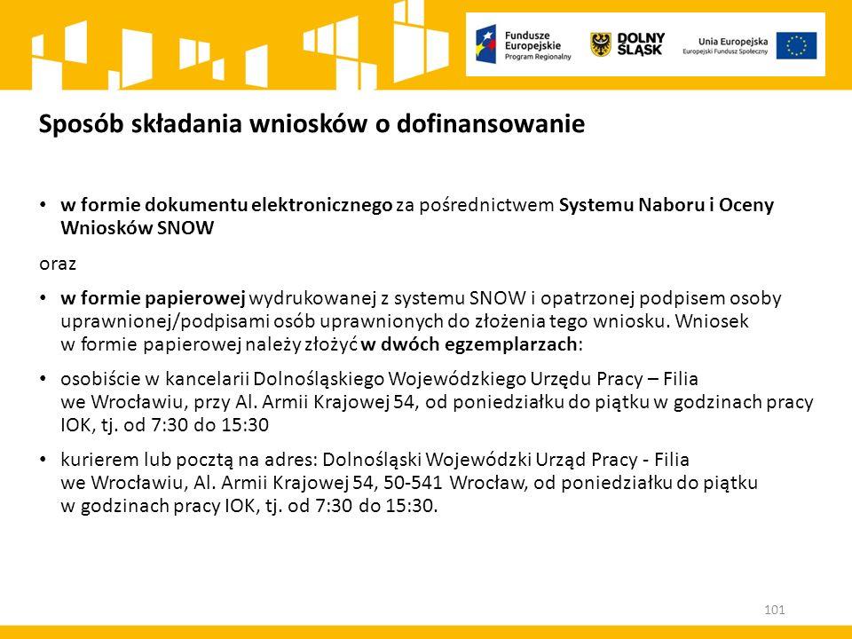 Sposób składania wniosków o dofinansowanie w formie dokumentu elektronicznego za pośrednictwem Systemu Naboru i Oceny Wniosków SNOW oraz w formie papi