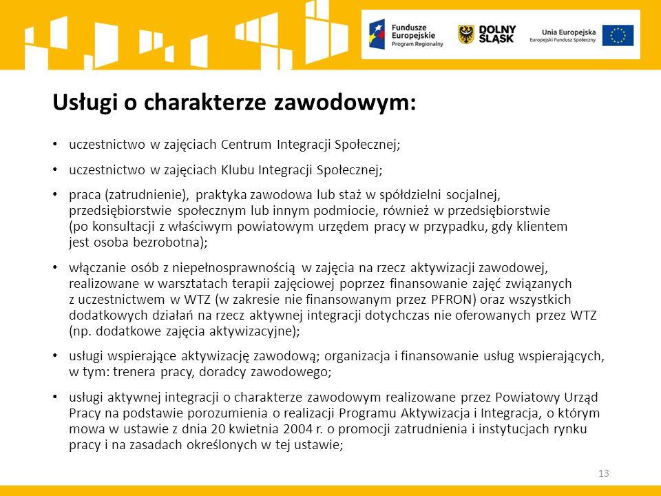 Usługi o charakterze zawodowym: uczestnictwo w zajęciach Centrum Integracji Społecznej; uczestnictwo w zajęciach Klubu Integracji Społecznej; praca (z