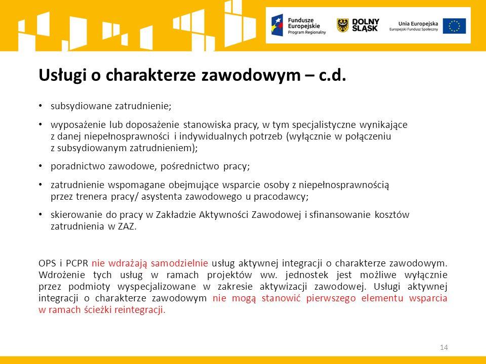 Usługi o charakterze zawodowym – c.d. subsydiowane zatrudnienie; wyposażenie lub doposażenie stanowiska pracy, w tym specjalistyczne wynikające z dane