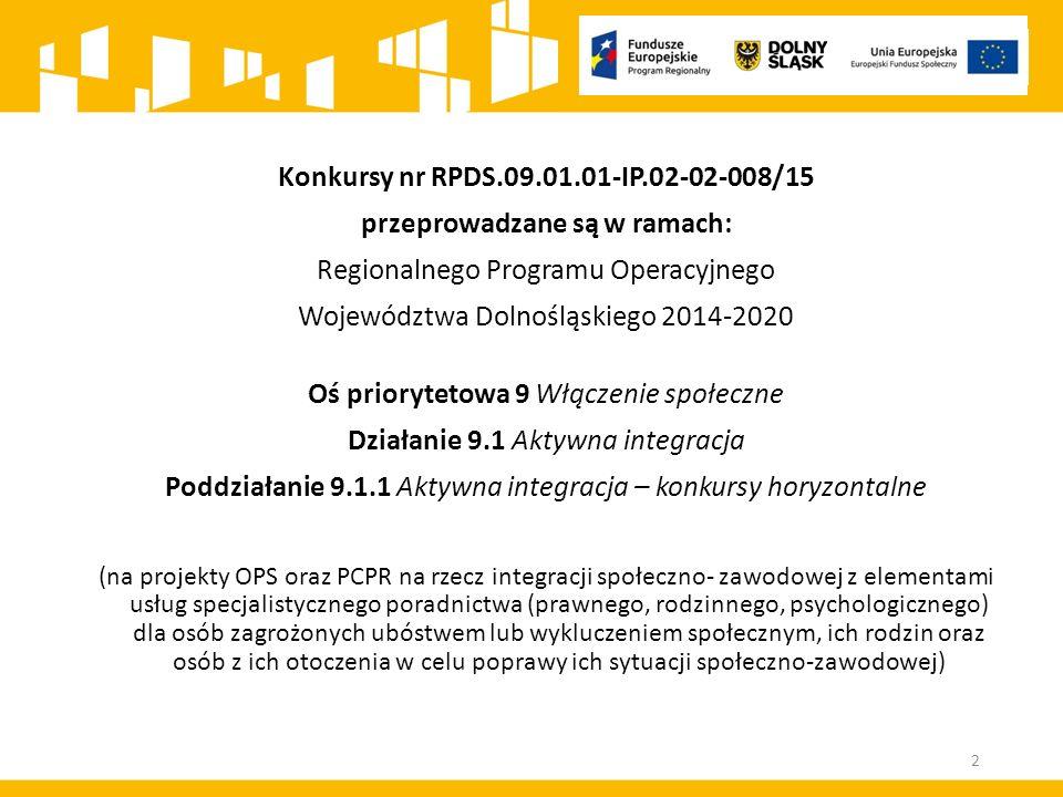 Konkursy nr RPDS.09.01.01-IP.02-02-008/15 przeprowadzane są w ramach: Regionalnego Programu Operacyjnego Województwa Dolnośląskiego 2014-2020 Oś priorytetowa 9 Włączenie społeczne Działanie 9.1 Aktywna integracja Poddziałanie 9.1.1 Aktywna integracja – konkursy horyzontalne (na projekty OPS oraz PCPR na rzecz integracji społeczno- zawodowej z elementami usług specjalistycznego poradnictwa (prawnego, rodzinnego, psychologicznego) dla osób zagrożonych ubóstwem lub wykluczeniem społecznym, ich rodzin oraz osób z ich otoczenia w celu poprawy ich sytuacji społeczno-zawodowej) 2