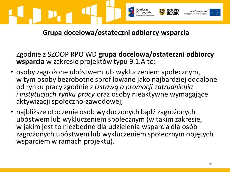 Grupa docelowa/ostateczni odbiorcy wsparcia Zgodnie z SZOOP RPO WD grupa docelowa/ostateczni odbiorcy wsparcia w zakresie projektów typu 9.1.A to: oso
