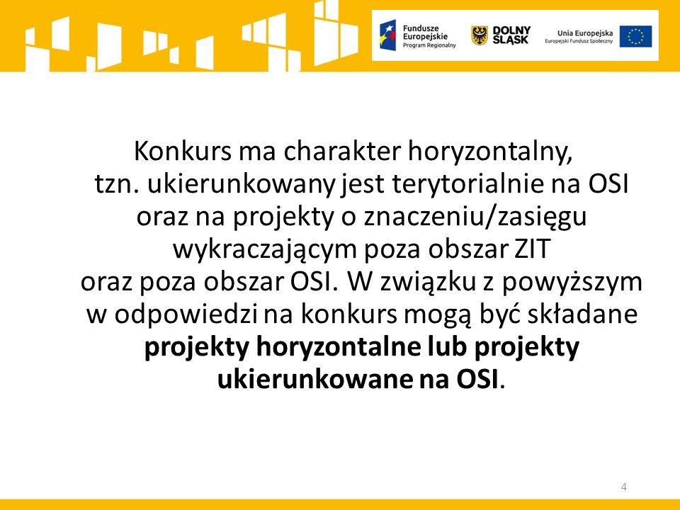 Konkurs ma charakter horyzontalny, tzn. ukierunkowany jest terytorialnie na OSI oraz na projekty o znaczeniu/zasięgu wykraczającym poza obszar ZIT ora