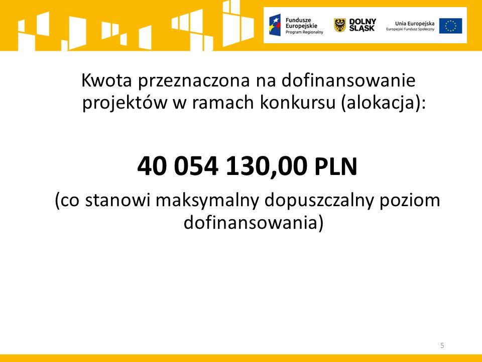 Kwota przeznaczona na dofinansowanie projektów w ramach konkursu (alokacja): 40 054 130,00 PLN (co stanowi maksymalny dopuszczalny poziom dofinansowan