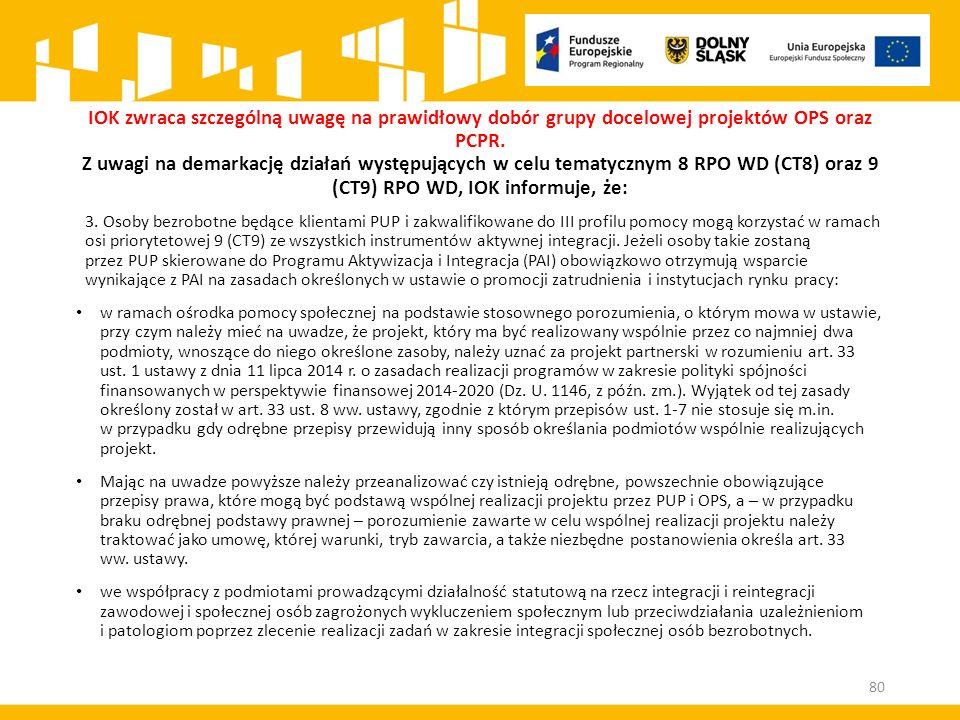 IOK zwraca szczególną uwagę na prawidłowy dobór grupy docelowej projektów OPS oraz PCPR. Z uwagi na demarkację działań występujących w celu tematyczny