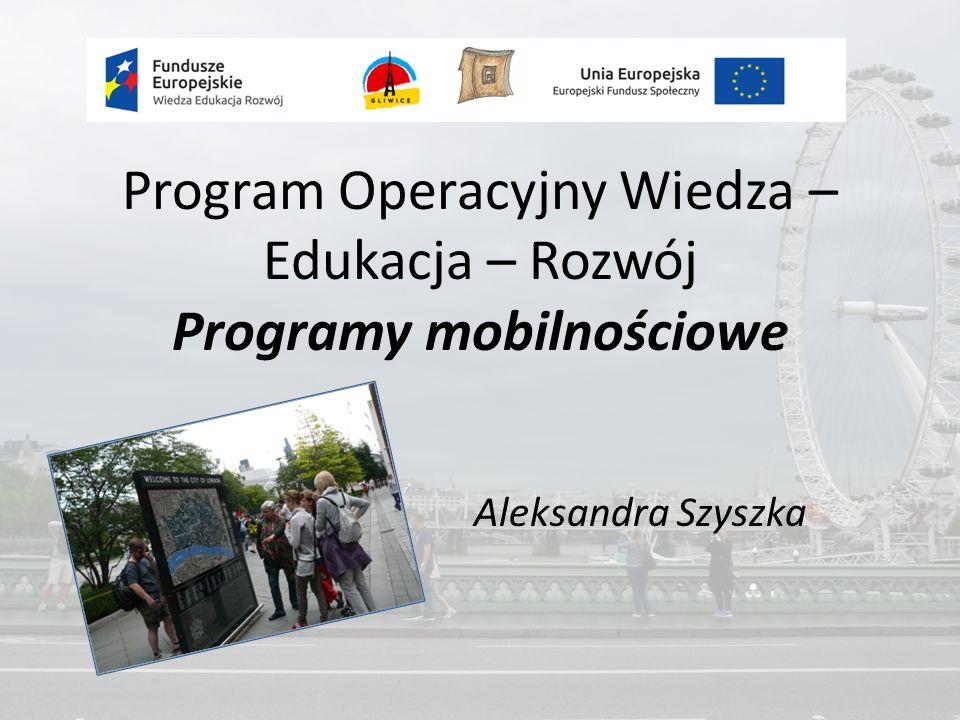 Program Operacyjny Wiedza – Edukacja – Rozwój Programy mobilnościowe Aleksandra Szyszka