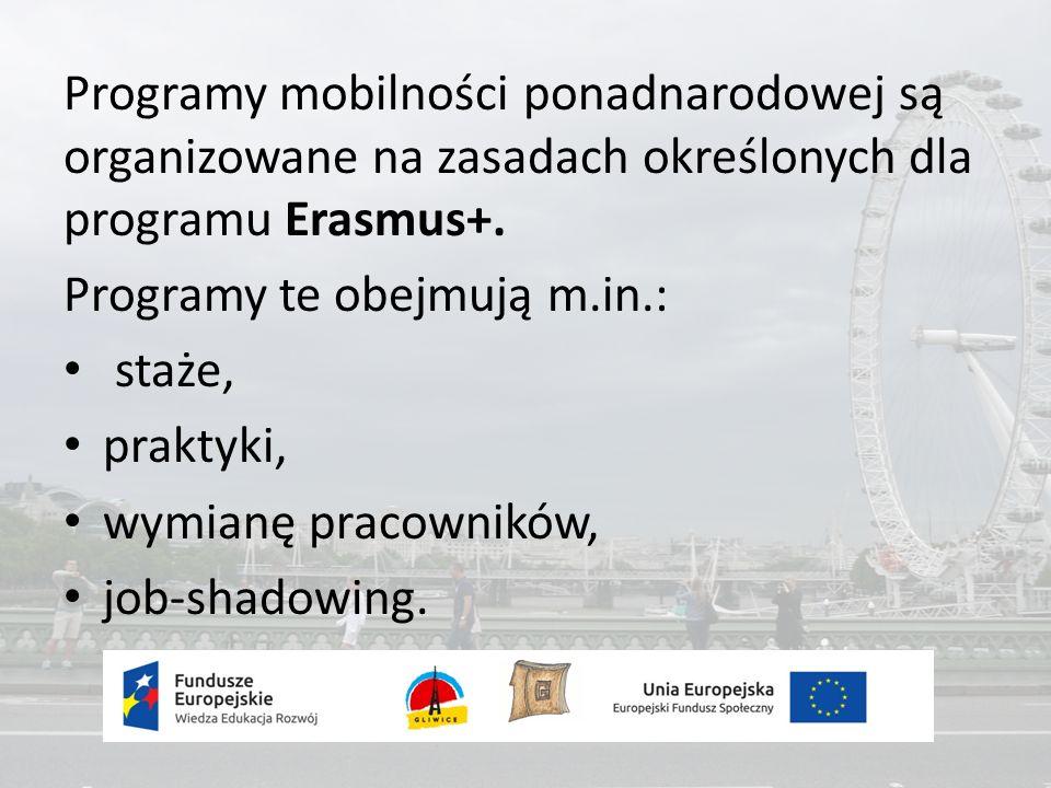 Programy mobilności ponadnarodowej są organizowane na zasadach określonych dla programu Erasmus+.