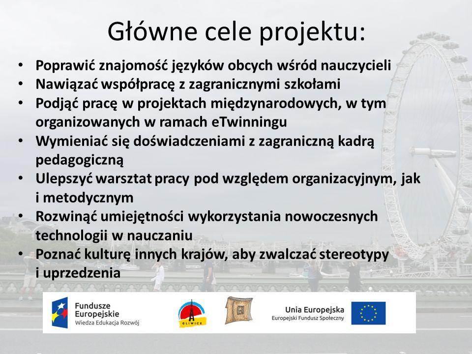 Główne cele projektu: Poprawić znajomość języków obcych wśród nauczycieli Nawiązać współpracę z zagranicznymi szkołami Podjąć pracę w projektach międzynarodowych, w tym organizowanych w ramach eTwinningu Wymieniać się doświadczeniami z zagraniczną kadrą pedagogiczną Ulepszyć warsztat pracy pod względem organizacyjnym, jak i metodycznym Rozwinąć umiejętności wykorzystania nowoczesnych technologii w nauczaniu Poznać kulturę innych krajów, aby zwalczać stereotypy i uprzedzenia