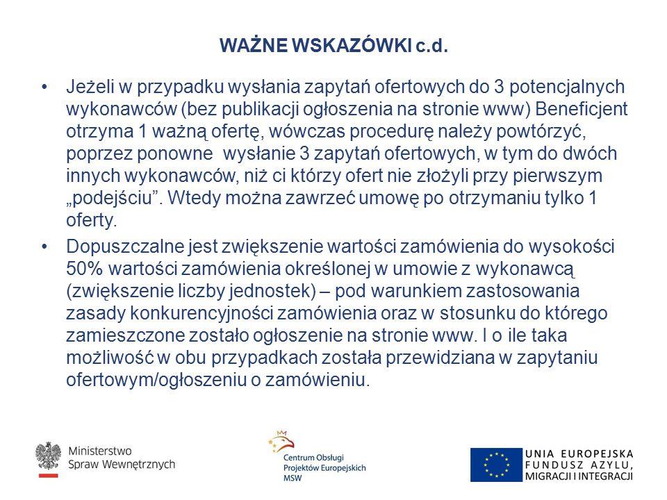 WAŻNE WSKAZÓWKI c.d.