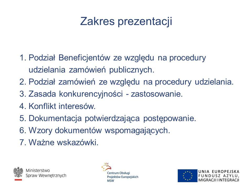 Zakres prezentacji 1. Podział Beneficjentów ze względu na procedury udzielania zamówień publicznych. 2. Podział zamówień ze względu na procedury udzie