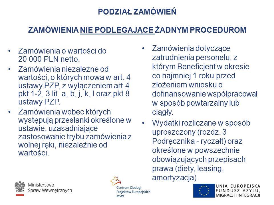 PODZIAŁ ZAMÓWIEŃ ZAMÓWIENIA NIE PODLEGAJĄCE ŻADNYM PROCEDUROM Zamówienia o wartości do 20 000 PLN netto.