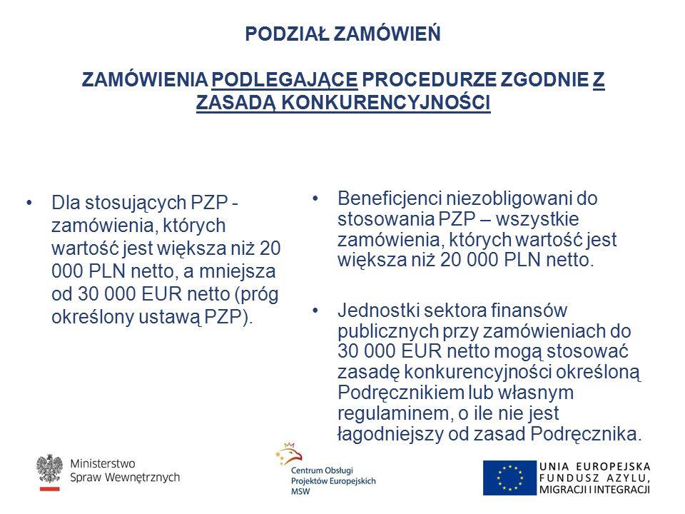 PODZIAŁ ZAMÓWIEŃ ZAMÓWIENIA PODLEGAJĄCE PROCEDURZE ZGODNIE Z ZASADĄ KONKURENCYJNOŚCI Dla stosujących PZP - zamówienia, których wartość jest większa niż 20 000 PLN netto, a mniejsza od 30 000 EUR netto (próg określony ustawą PZP).