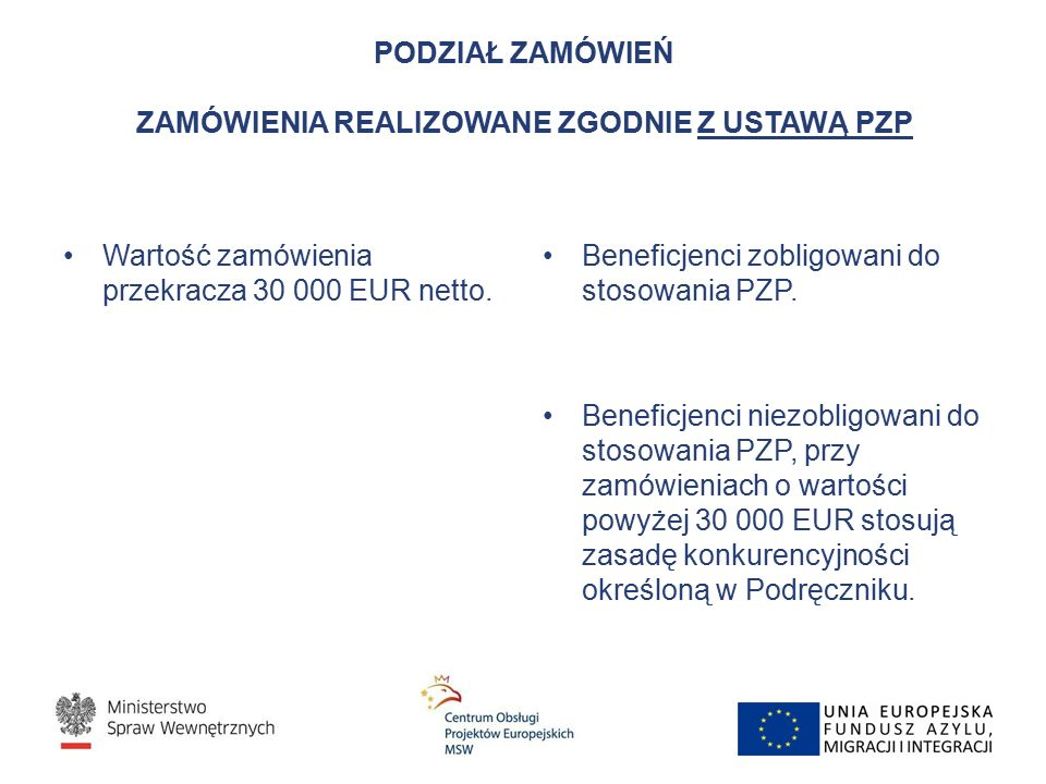 PODZIAŁ ZAMÓWIEŃ ZAMÓWIENIA REALIZOWANE ZGODNIE Z USTAWĄ PZP Wartość zamówienia przekracza 30 000 EUR netto. Beneficjenci zobligowani do stosowania PZ
