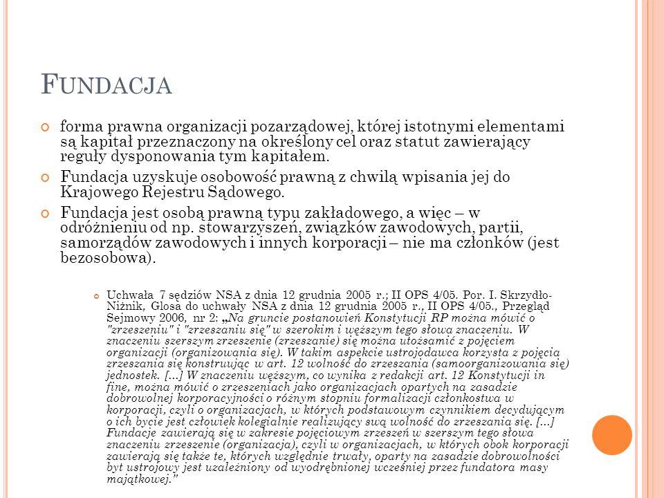 F UNDACJA forma prawna organizacji pozarządowej, której istotnymi elementami są kapitał przeznaczony na określony cel oraz statut zawierający reguły dysponowania tym kapitałem.