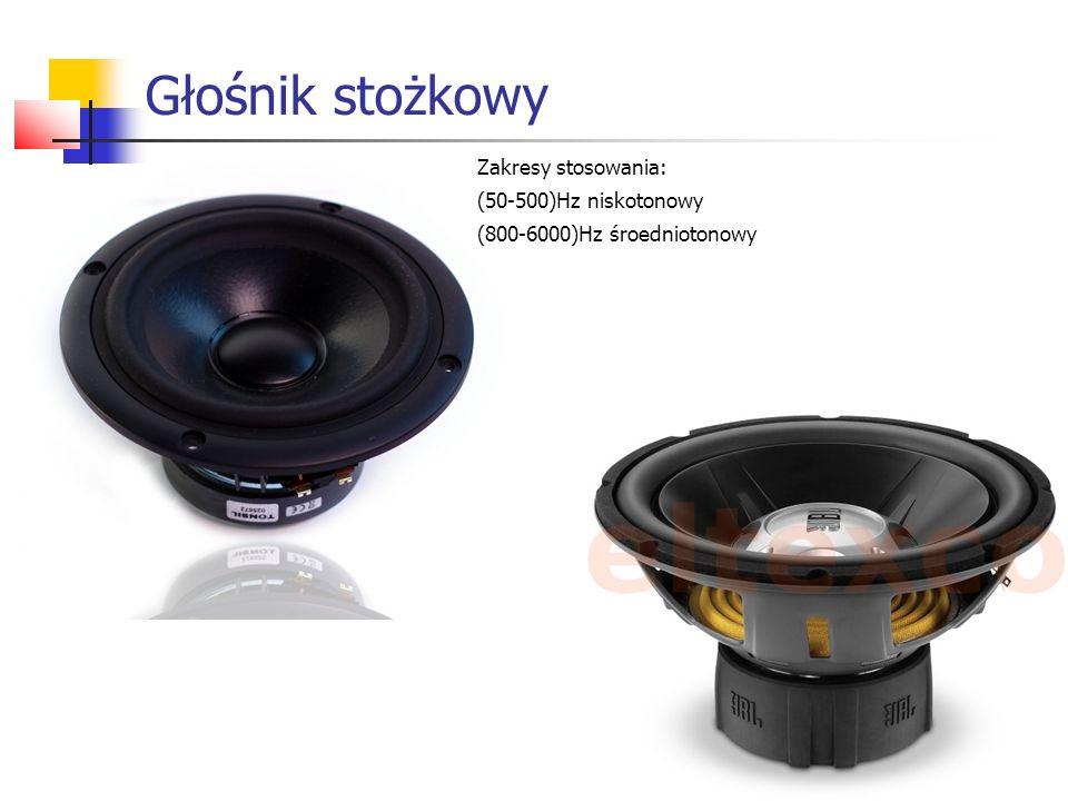 Głośnik stożkowy Zakresy stosowania: (50-500)Hz niskotonowy (800-6000)Hz śroedniotonowy