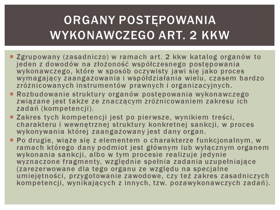  Zgrupowany (zasadniczo) w ramach art. 2 kkw katalog organów to jeden z dowodów na złożoność współczesnego postępowania wykonawczego, które w sposób