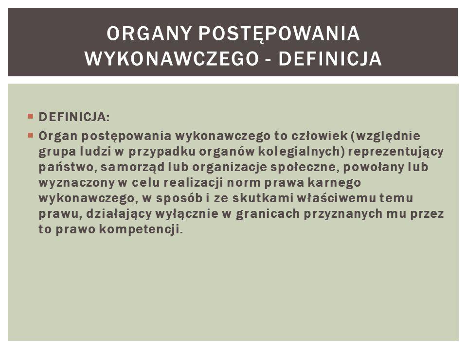  DEFINICJA:  Organ postępowania wykonawczego to człowiek (względnie grupa ludzi w przypadku organów kolegialnych) reprezentujący państwo, samorząd l