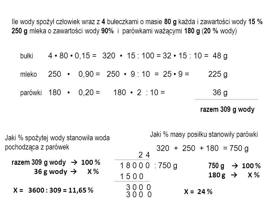 Ile wody spożył człowiek wraz z 4 bułeczkami o masie 80 g każda i zawartości wody 15 % 250 g mleka o zawartości wody 90% i parówkami ważącymi 180 g (