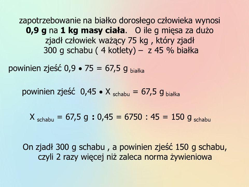 zapotrzebowanie na białko dorosłego człowieka wynosi 0,9 g na 1 kg masy ciała. O ile g mięsa za dużo zjadł człowiek ważący 75 kg, który zjadł 300 g sc