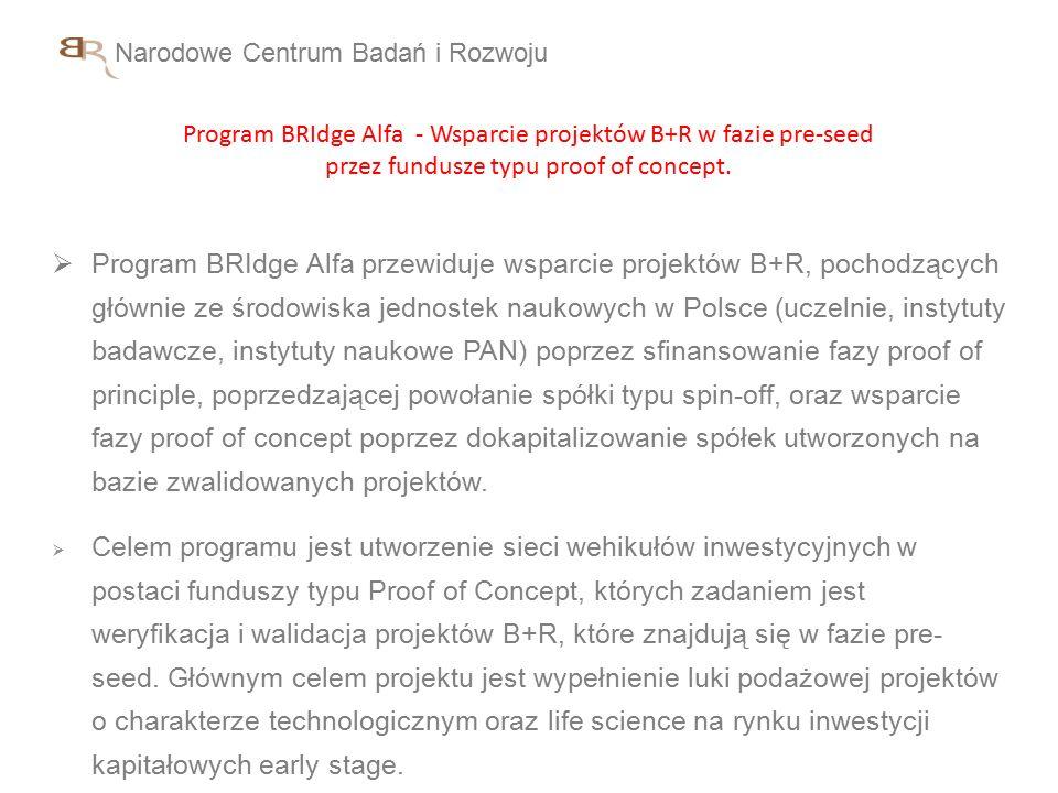 Narodowe Centrum Badań i Rozwoju Program BRIdge Alfa - Wsparcie projektów B+R w fazie pre-seed przez fundusze typu proof of concept.