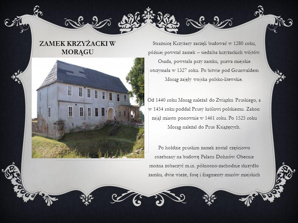 ZAMEK KRZYŻACKI W OSTRÓDZIE Pierwszy zamek krzyżacki – o konstrukcji drewniano- ziemnej – został zbudowany w Ostródzie w I poł.