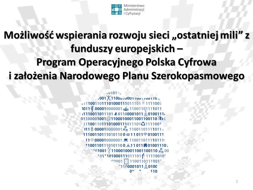 2 Cel: wzmocnienie cyfrowych fundamentów dla rozwoju kraju  Powszechny dostęp do szerokopasmowego Internetu o prędkości powyżej 30 Mb/s,  Wszyscy mieszkańcy powinni mieć dostęp do zaawansowanych publicznych usług elektronicznych,  Ponad 50% mieszkańców powinno posiadać przynajmniej średni poziom kompetencji cyfrowych Program Operacyjny Polska Cyfrowa 2014-2020