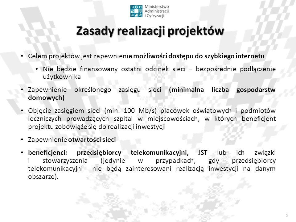 5 Zasady realizacji projektów Celem projektów jest zapewnienie możliwości dostępu do szybkiego internetu Nie będzie finansowany ostatni odcinek sieci – bezpośrednie podłączenie użytkownika Zapewnienie określonego zasięgu sieci (minimalna liczba gospodarstw domowych) Objęcie zasięgiem sieci (min.
