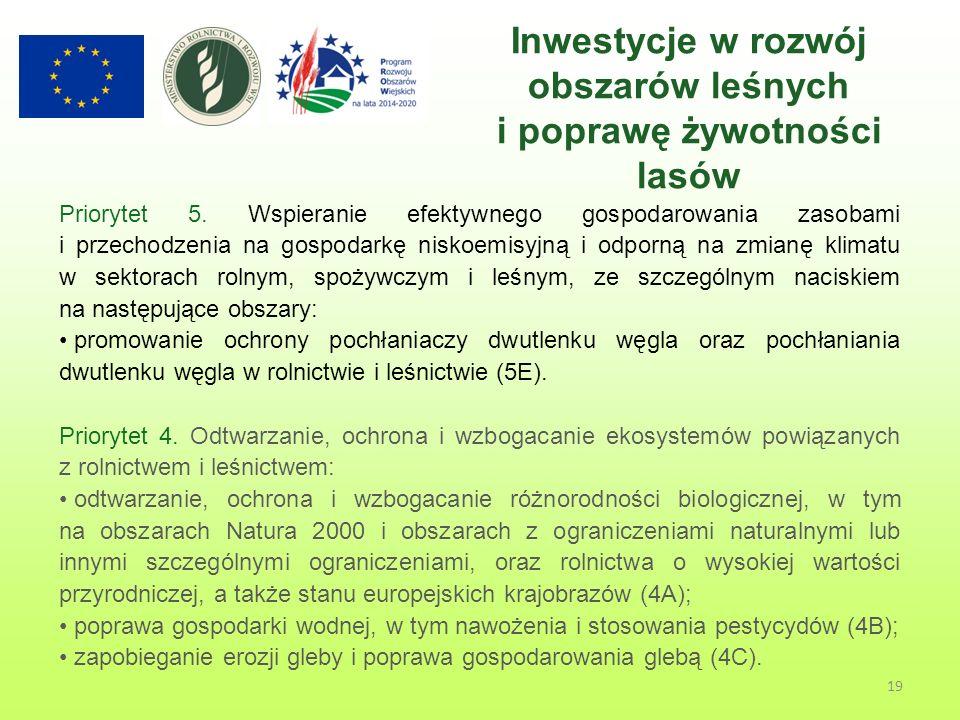 19 Inwestycje w rozwój obszarów leśnych i poprawę żywotności lasów Priorytet 5.