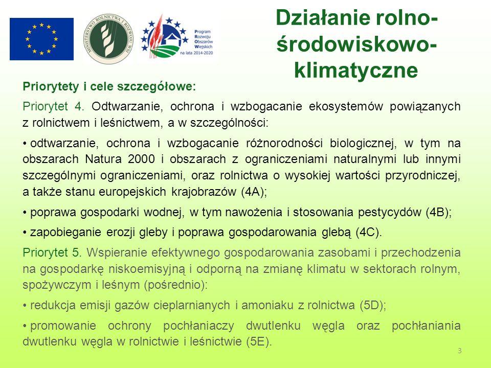 3 Działanie rolno- środowiskowo- klimatyczne Priorytety i cele szczegółowe: Priorytet 4.