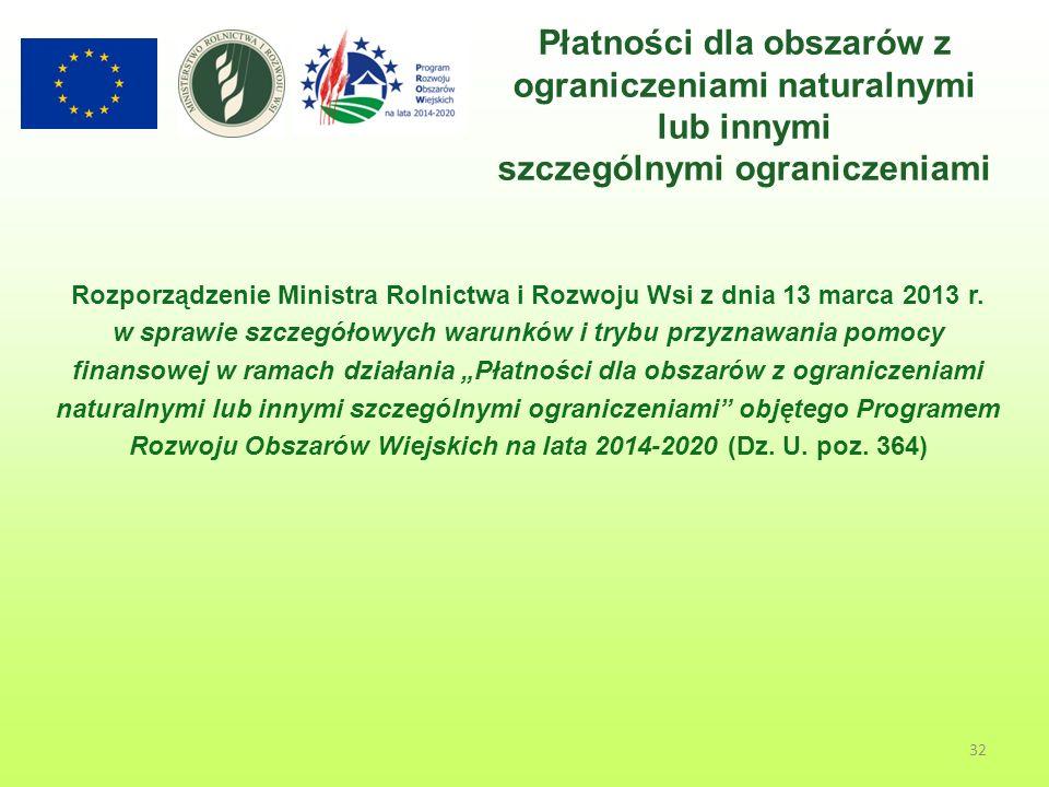 32 Płatności dla obszarów z ograniczeniami naturalnymi lub innymi szczególnymi ograniczeniami Rozporządzenie Ministra Rolnictwa i Rozwoju Wsi z dnia 13 marca 2013 r.