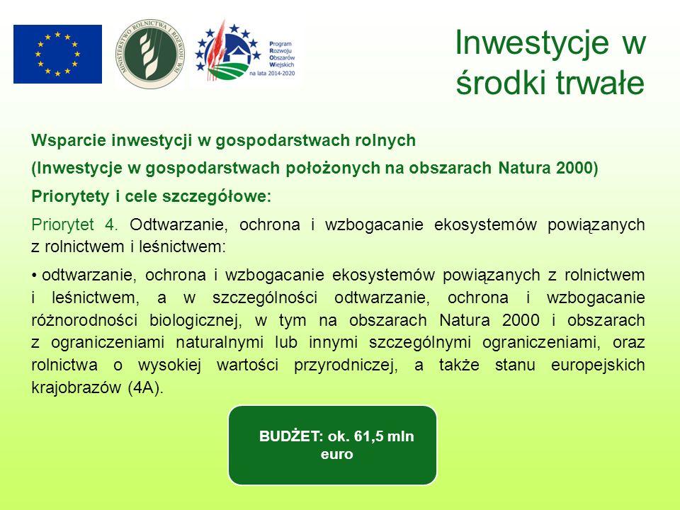 Inwestycje w środki trwałe Wsparcie inwestycji w gospodarstwach rolnych (Inwestycje w gospodarstwach położonych na obszarach Natura 2000) Priorytety i cele szczegółowe: Priorytet 4.