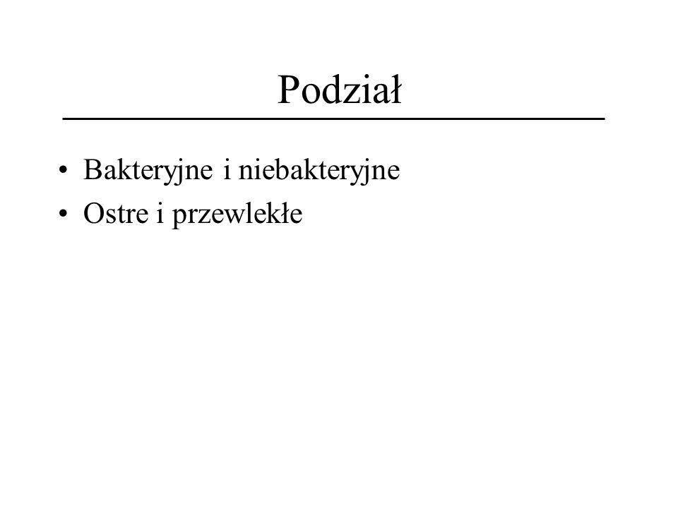Ostre niebakteryjne śródmiąższowe zapalenie nerek (NSZN) - etiologia Leki: Antybiotyki (głównie panicyliny, cefalosporyny, chinolony), sulfonamidy toksyny bakteryjne choroby o podłożu immunologicznym (np.
