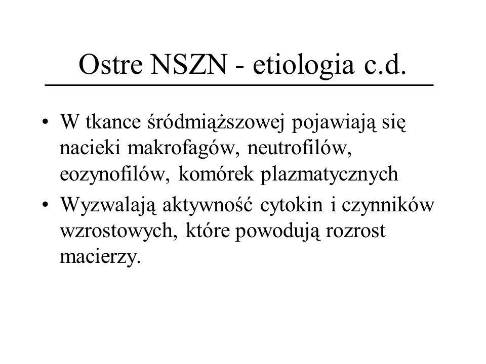 Ostre NSZN - etiologia c.d. W tkance śródmiąższowej pojawiają się nacieki makrofagów, neutrofilów, eozynofilów, komórek plazmatycznych Wyzwalają aktyw