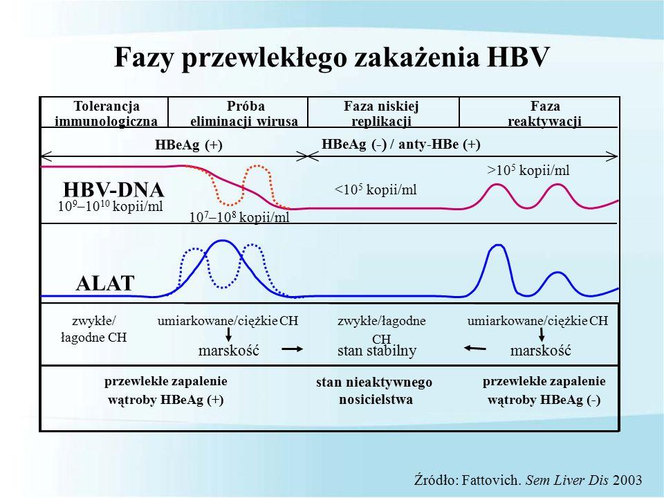10 < <> > HBeAg (+) HBeAg ( -) / anty-HBe (+) ALAT HBV-DNA zwykłe/ łagodne CH umiarkowane/ciężkie CH zwykłe/łagodne CH marskość stan nieaktywnego nosicielstwa przewlekłe zapalenie wątroby HBeAg (-) przewlekłe zapalenie wątroby HBeAg (+) Tolerancja immunologiczna Próba eliminacji wirusa Faza niskiej replikacji Faza reaktywacji marskość 10 9 –10 10 kopii/ml 10 7 –10 8 kopii/ml <10 5 kopii/ml >10 5 kopii/ml stan stabilny Fazy przewlekłego zakażenia HBV Źródło: Fattovich.