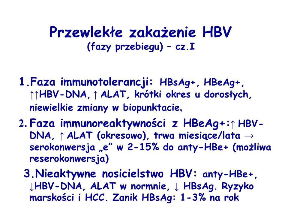 Przewlekłe zakażenie HBV (fazy przebiegu) – cz.I 1.Faza immunotolerancji: HBsAg+, HBeAg+, ↑↑ HBV-DNA, ↑ ALAT, krótki okres u dorosłych, niewielkie zmiany w biopunktacie, 2.