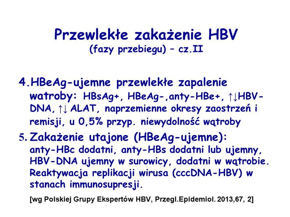 Przewlekłe zakażenie HBV (fazy przebiegu) – cz.II 4.HBeAg-ujemne przewlekłe zapalenie watroby: HBsAg+, HBeAg-,anty-HBe+, ↑↓ HBV- DNA, ↑↓ ALAT, naprzem