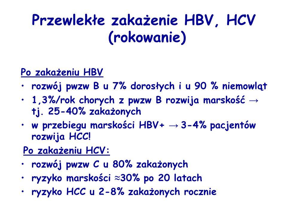 Po zakażeniu HBV rozwój pwzw B u 7% dorosłych i u 90 % niemowląt 1,3%/rok chorych z pwzw B rozwija marskość → tj.
