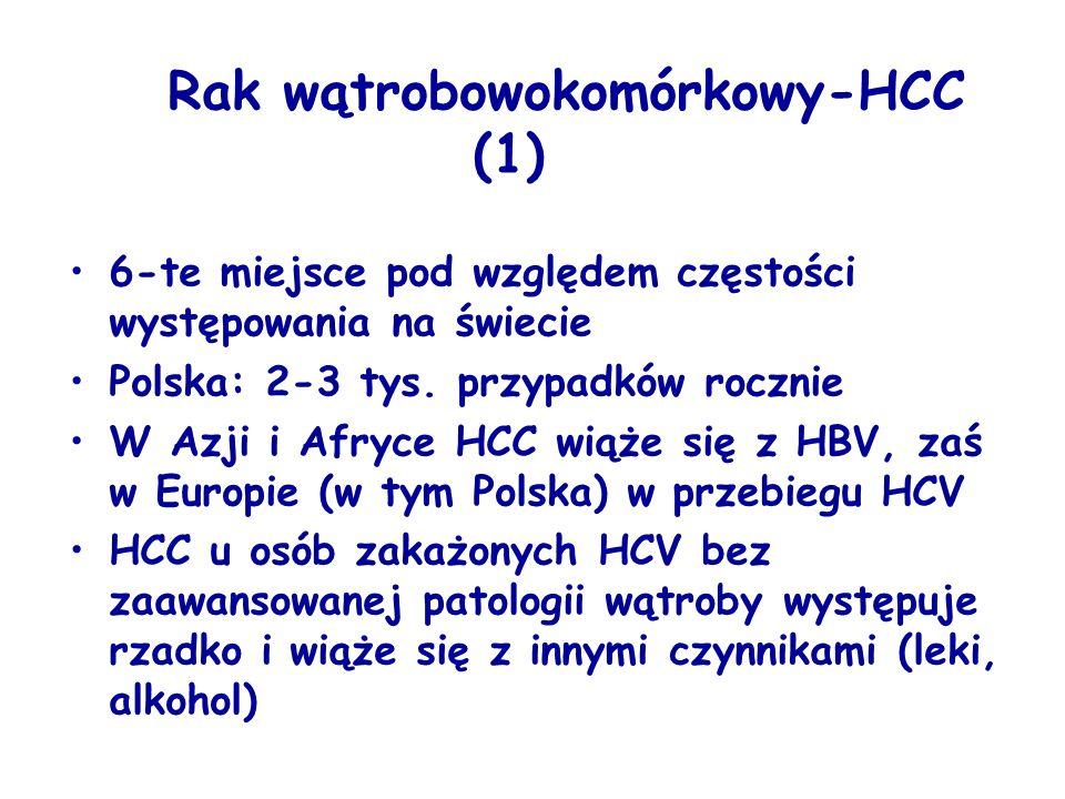 Rak wątrobowokomórkowy-HCC (1) 6-te miejsce pod względem częstości występowania na świecie Polska: 2-3 tys. przypadków rocznie W Azji i Afryce HCC wią
