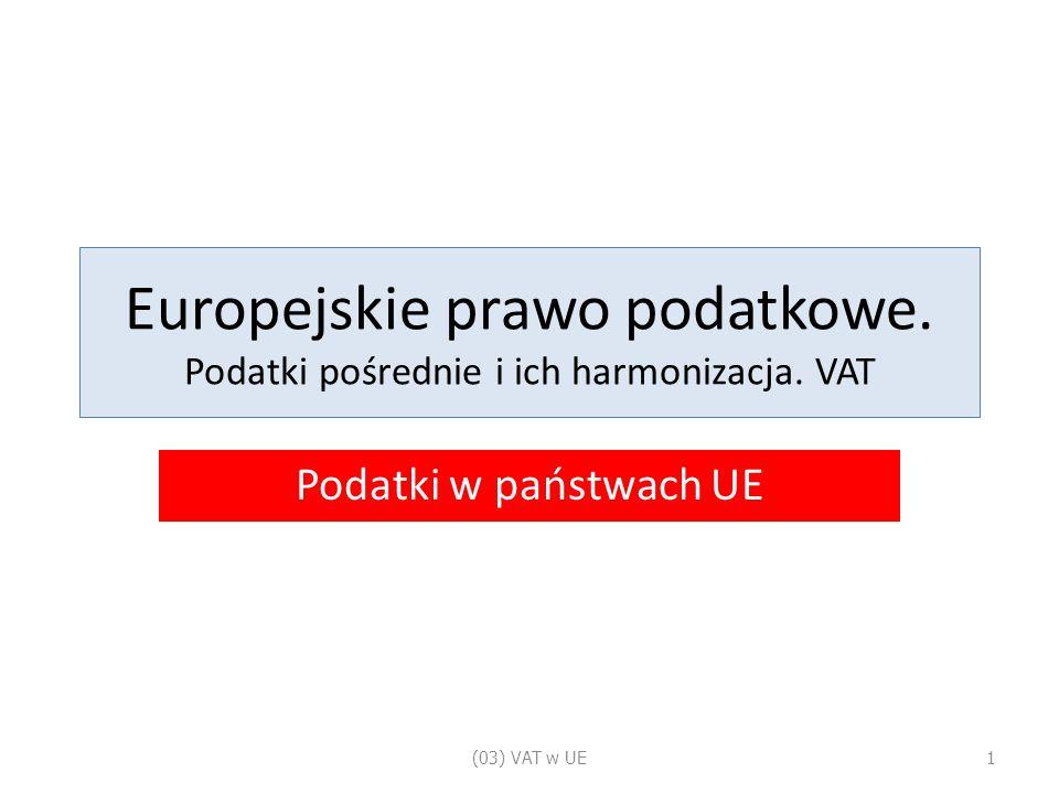 Europejskie prawo podatkowe. Podatki pośrednie i ich harmonizacja.