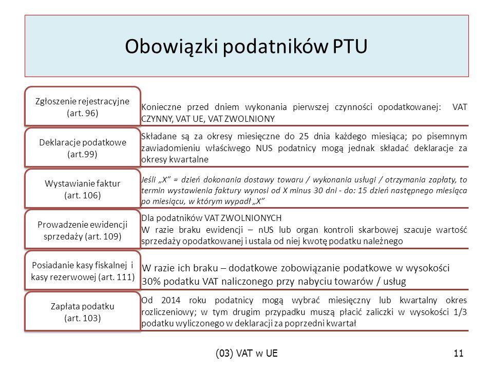 Obowiązki podatników PTU Konieczne przed dniem wykonania pierwszej czynności opodatkowanej: VAT CZYNNY, VAT UE, VAT ZWOLNIONY Zgłoszenie rejestracyjne (art.