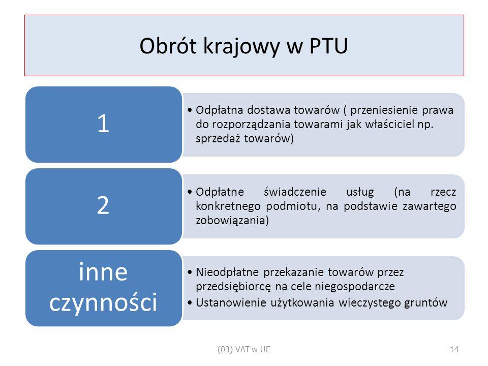 Obrót krajowy w PTU Odpłatna dostawa towarów ( przeniesienie prawa do rozporządzania towarami jak właściciel np.