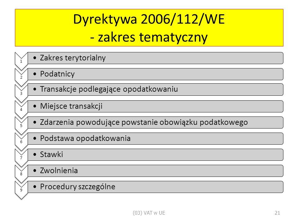 Dyrektywa 2006/112/WE - zakres tematyczny 1 Zakres terytorialny 2 Podatnicy 3 Transakcje podlegające opodatkowaniu 4 Miejsce transakcji 5 Zdarzenia powodujące powstanie obowiązku podatkowego 6 Podstawa opodatkowania 7 Stawki 8 Zwolnienia 9 Procedury szczególne (03) VAT w UE21