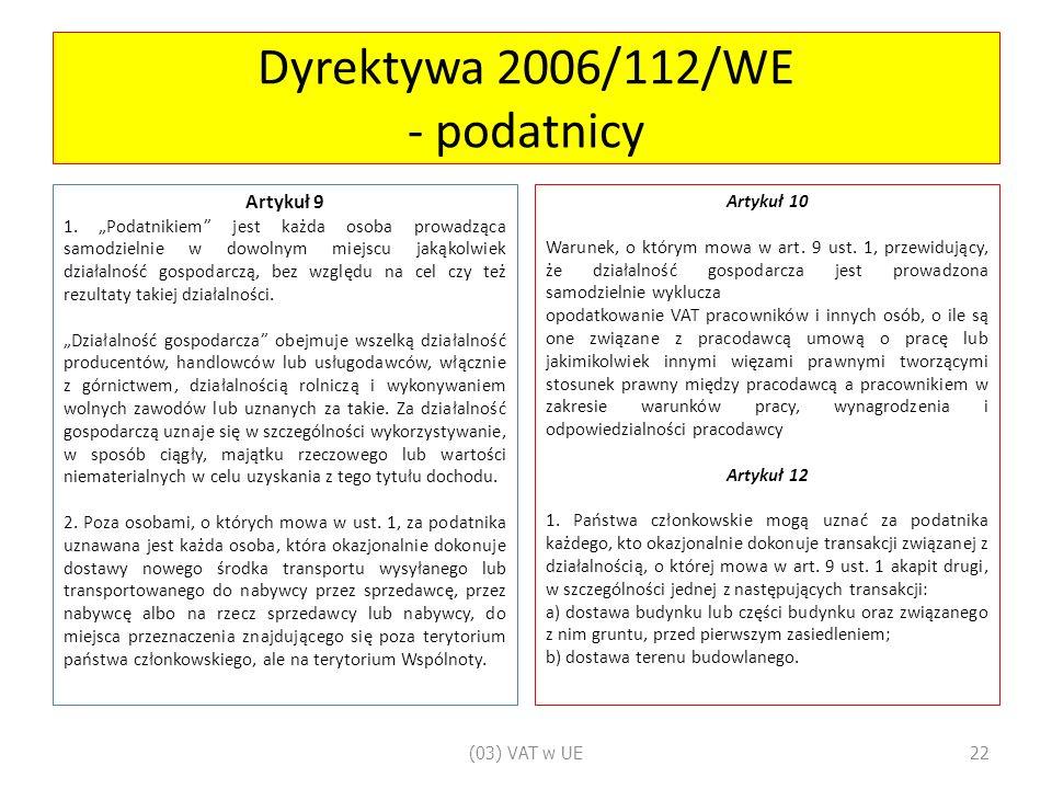 Dyrektywa 2006/112/WE - podatnicy Artykuł 9 1.