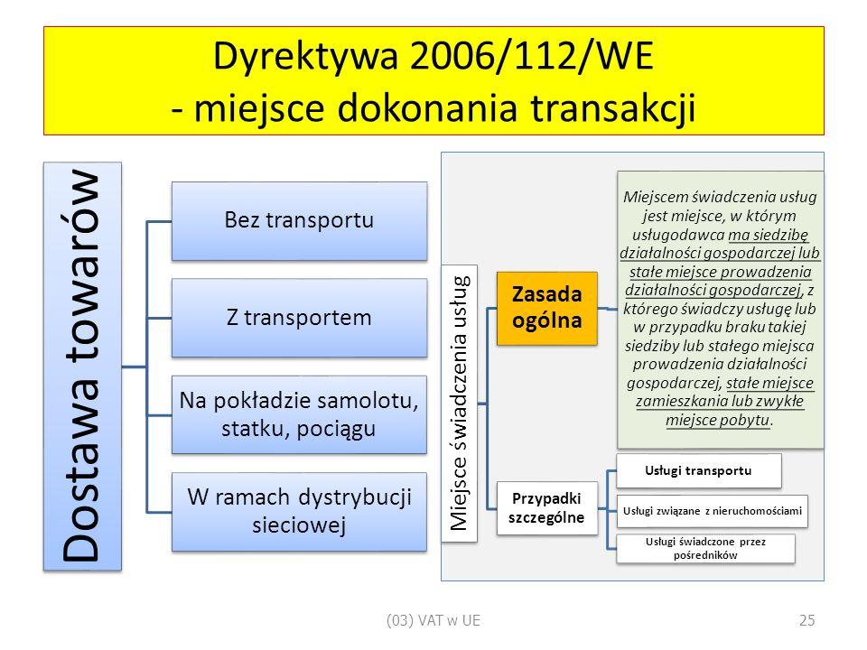 Dyrektywa 2006/112/WE - miejsce dokonania transakcji Dostawa towarów Bez transportu Z transportem Na pokładzie samolotu, statku, pociągu W ramach dystrybucji sieciowej Miejsce świadczenia usług Zasada ogólna Miejscem świadczenia usług jest miejsce, w którym usługodawca ma siedzibę działalności gospodarczej lub stałe miejsce prowadzenia działalności gospodarczej, z którego świadczy usługę lub w przypadku braku takiej siedziby lub stałego miejsca prowadzenia działalności gospodarczej, stałe miejsce zamieszkania lub zwykłe miejsce pobytu.