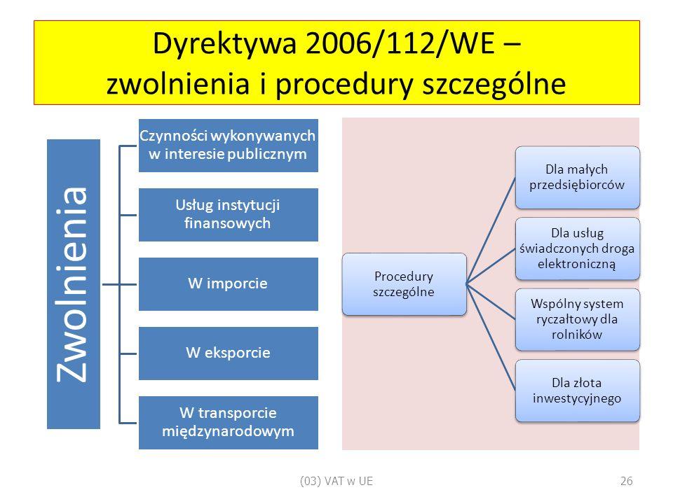 Dyrektywa 2006/112/WE – zwolnienia i procedury szczególne Zwolnienia Czynności wykonywanych w interesie publicznym Usług instytucji finansowych W imporcie W eksporcie W transporcie międzynarodowym Procedury szczególne Dla małych przedsiębiorców Dla usług świadczonych droga elektroniczną Wspólny system ryczałtowy dla rolników Dla złota inwestycyjnego (03) VAT w UE26