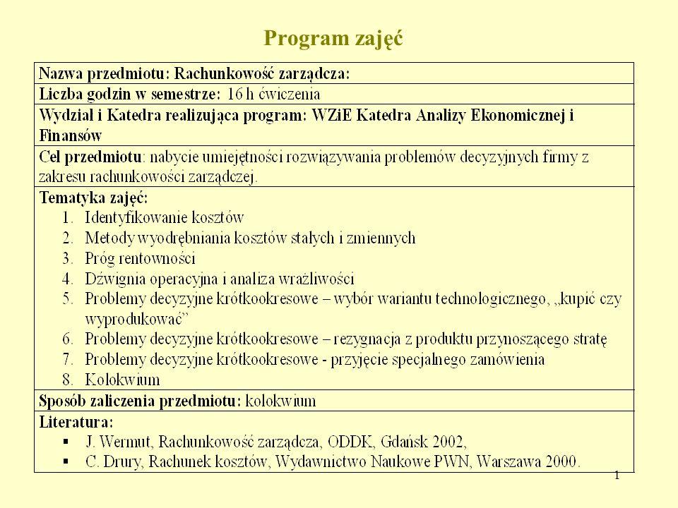 1 Program zajęć
