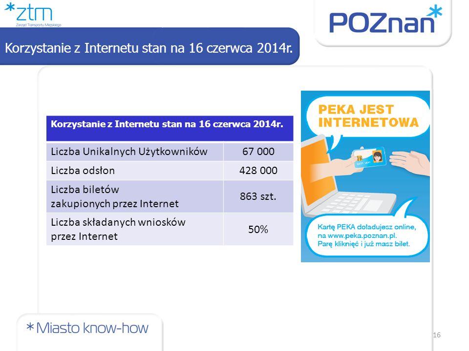 Korzystanie z Internetu stan na 16 czerwca 2014r. 16 Korzystanie z Internetu stan na 16 czerwca 2014r. Liczba Unikalnych Użytkowników67 000 Liczba ods