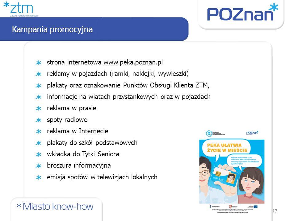strona internetowa www.peka.poznan.pl reklamy w pojazdach (ramki, naklejki, wywieszki) plakaty oraz oznakowanie Punktów Obsługi Klienta ZTM, informacj