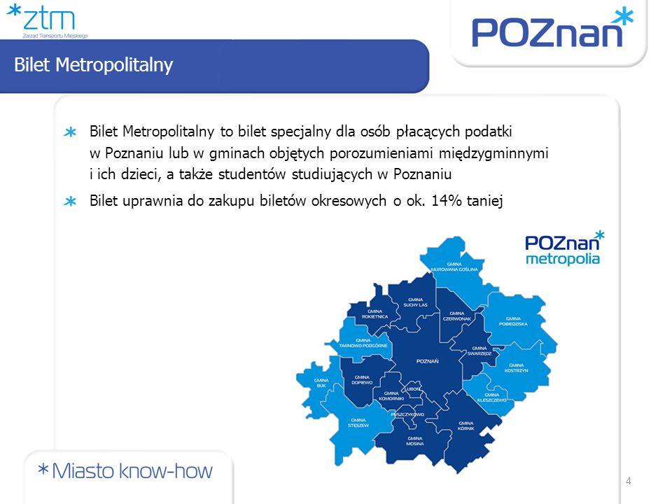 4 Bilet Metropolitalny to bilet specjalny dla osób płacących podatki w Poznaniu lub w gminach objętych porozumieniami międzygminnymi i ich dzieci, a także studentów studiujących w Poznaniu Bilet uprawnia do zakupu biletów okresowych o ok.