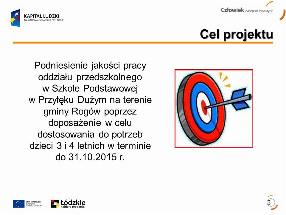 3 Cel projektu Podniesienie jakości pracy oddziału przedszkolnego w Szkole Podstawowej w Przyłęku Dużym na terenie gminy Rogów poprzez doposażenie w celu dostosowania do potrzeb dzieci 3 i 4 letnich w terminie do 31.10.2015 r.